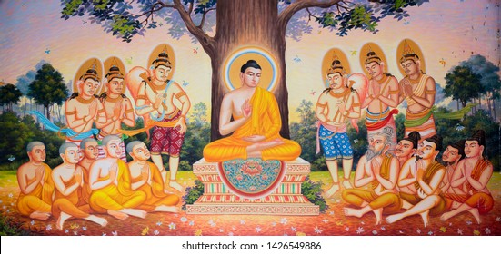 Chachoengsao, Thailand - December 31,2018: An ancient mural art, showing story of Buddha in Makha Bucha Day That monks come meeting to pay homage to Lord Buddha in Wat Bangphongdham chotigaram