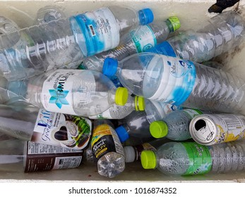 Chachoengsao, Thailand - January 15 : Many plastic bottle in a box for sale. Garbage for recycle January 15, 2018 in Chachoengsao, Thailand.