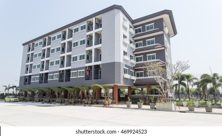 CHACHOENGSAO, THAILAND - JANUARY 27:  grey apartment building light from right side January 27, 2015 at Chachoengsao, Thailand.