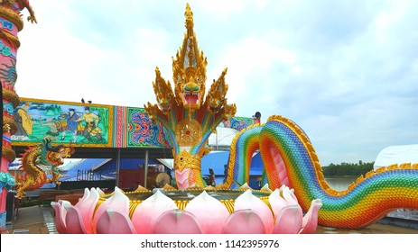 Chachoengsao, Thailand - July 22,2018 :  king of Nagas statue is very big at Wat Saman Rattanaram temple, chachoengsao province ,Thailand