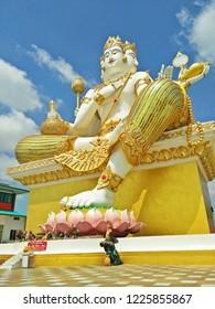 Chachoengsao, Thailand - July 31,2017 : Brahma giant statue are sitting on a pedestal at Wat Saman Rattanaram temple, chachoengsao province ,Thailand.