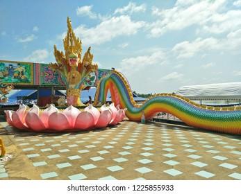 Chachoengsao, Thailand - July 31,2017 : king of Nagas statue is very big at Wat Saman Rattanaram temple, chachoengsao province ,Thailand.