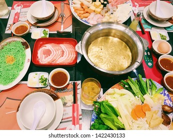 CHACHOENGSAO, THAILAND - June 10, 2018:  Set Meat and Vegetable Menu Sukiyaki, MK Suki Restaurant.