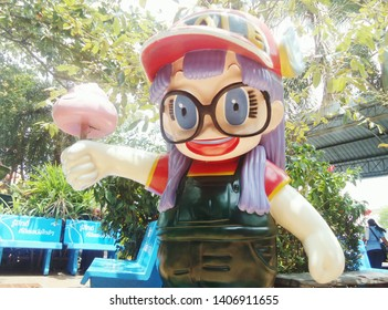 CHACHOENGSAO, THAILAND – MAY 25, 2019: Norimaki Arare model display is a character from Dr.Slump's Japanese cartoon at Wat Saman Rattanaram Temple in Chachoengsao Province, Thailand.