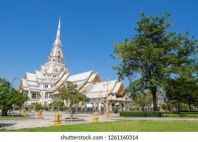 CHACHOENGSAO, THAILAND - November 5, 2018 : Wat Sothon Wararam Worawihan Temple in Chachoengsao Province, Thailand.