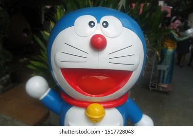 CHACHOENGSAO, THAILAND – SEPTEMBER 29, 2019: Doraemon model display with blur background at Wat Saman Rattanaram Temple, Chachoengsao Province, Thailand.