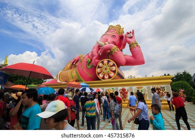 Chachoengsao,Thailand - July 24, 2016:Hugh Pink Genesha, the elephant-deity riding a mouse, one of the commonest mnemonics for anything associated with Hinduism, located at Wat Samanrattanaram Temple.