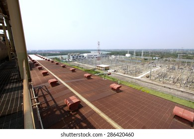 CHACHOENGSAO-THAILAND-FEBRUARY 28 : Top view of Switchyard in substation at Bang Pakong Power plant on February 28, 2015,Chachoengsao Province, Thailand.