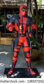 CHACOENGSAO,THAILAND - FEBRUARY 02, 2019: Deadpool model is shown in the Wat Samanrattanaram temple area