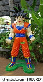 CHACOENGSAO,THAILAND - FEBRUARY 02, 2019: Goku model characters from series DRAGONBALL, stands in the the Wat Samanrattanaram temple area