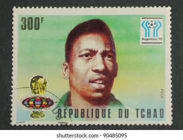 CHAD - CIRCA 1978: A post stamp printed in Chad shows portrait of Pele and devoted the football world cup 1978 in Argentina, series, circa 1978