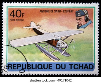 CHAD - CIRCA 1978: A stamp printed in Republic of Chad shows Antoine de Saint-Exupery, series devoted history of aviation, circa 1978