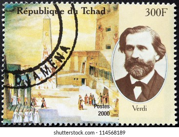 CHAD - CIRCA 2000: A postage stamp printed by Chad shows image portrait of famous Italian romantic composer Giuseppe Verdi, circa 2000.