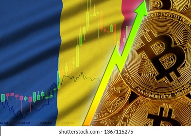 Chad flag and cryptocurrency growing trend with many golden bitcoins