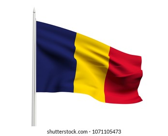 Chad flag floating in the wind with a White sky background. 3D illustration.