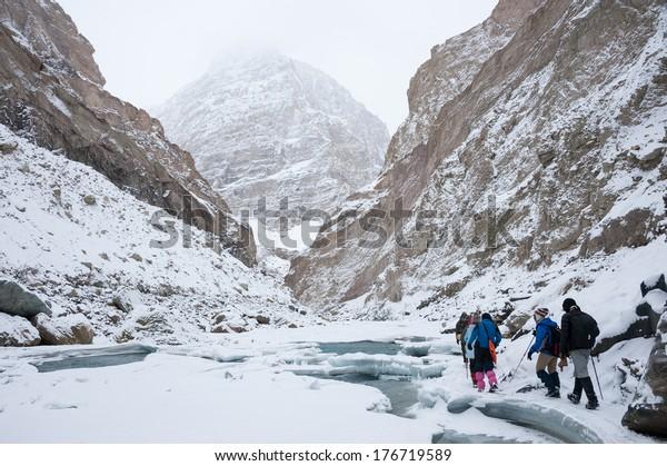 Chadar Trek or Frozen Zanskar River Trek, a frozen ice trek during winter in Ladakh of north India.