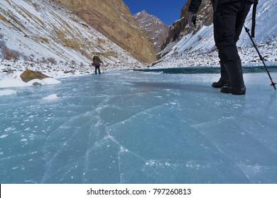 Chadar trek, Incredible of Zanskar river became to frozen ice river in February, Leh Ladakh India.