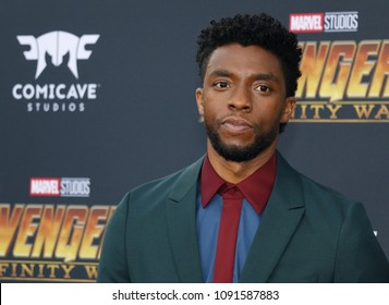 Chadwick Boseman at the premiere of Disney and Marvel's 'Avengers: Infinity War' held at the El Capitan Theatre in Hollywood, USA on April 23, 2018.