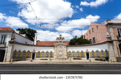 Chafariz da Cordoaria, also know as Chafariz da Junqueira, built in early 19th century with lioz stone and traditional decorative tile panels, in Lisbon, Portugal Transl: Free Water; Year 1821