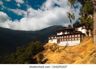 Chagri Cheri Dorjeden Monastery, Buddhist monastery near capital Thimphu in Bhutan, Himalayas.