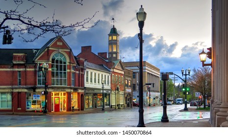 Chagrin Falls, Ohio / USA - April 26, 2019: East Washington Street in the Village on a Cold Wet Spring Evening