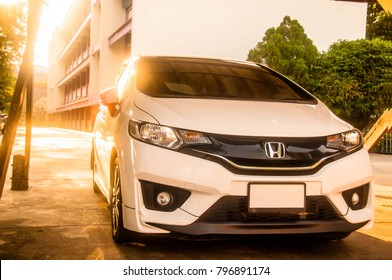 Chai nat/Thailand - Jan 18 2018:honda jazz 2016 parked at school