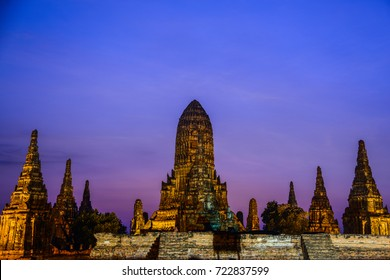 Chai Watthanaram, ancient Buddhist temple, the tourist destination and landmark in Ayuthaya, Thailand during twilight