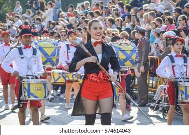 Chaiangmai , Thailand - 4 February 2017 : An undidentified people Chiangmai Flower Festival 41st 2017