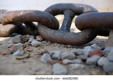 A chain to anchor a ship