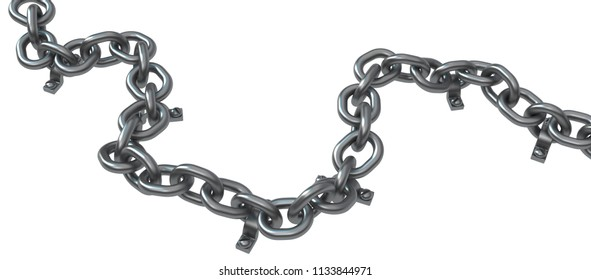 Chain bolted down, dark grey metal 3d illustration, isolated, horizontal, over white