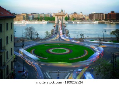 Chain Bridge in Budapest, Famous Landmarks at Sunset