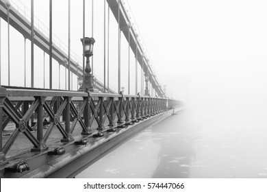 The Chain Bridge in Budapest in a foggy morning, Hungary.
