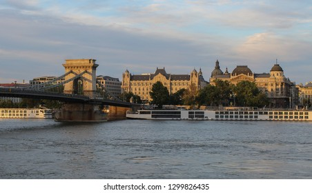 The Chain bridge in Budapest with the Gresham Palace in the background.