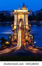 Chain bridge Budapest, Hungary at night