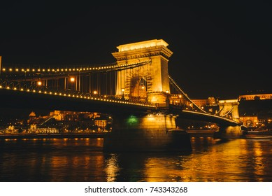 The Chain Bridge in Budapest, Hungary at night lights