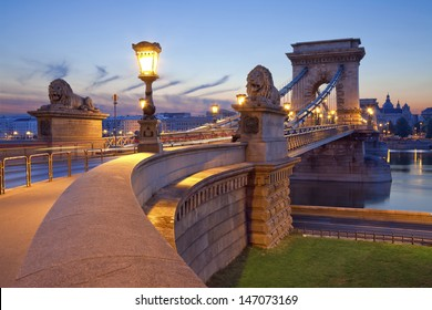 Chain Bridge, Budapest. Image of Chain Bridge in Budapest during sunrise.
