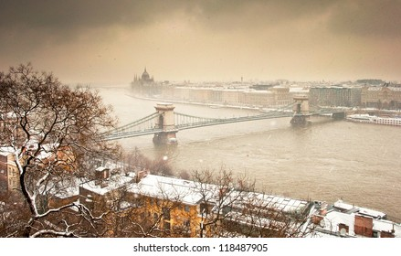 Chain Bridge and the city in winter