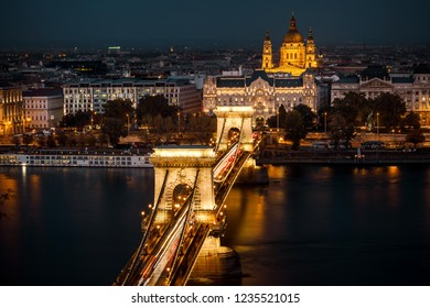 Chain bridge and Danube river in Budapest by night