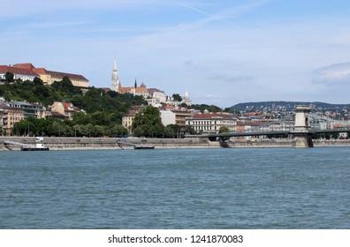Chain bridge and Fisherman bastion Budapest cityscape Hungary