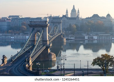 The Széchenyi Chain Bridge in the morning time, the famous attraction point in Budapest, Hungary, view from the mountain.
