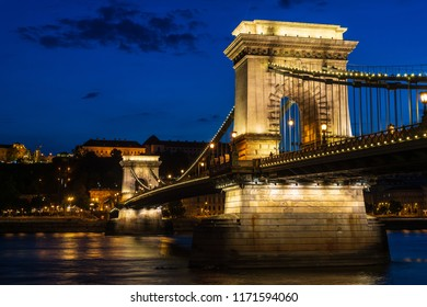 Chain bridge at night in Budapest, Hungary