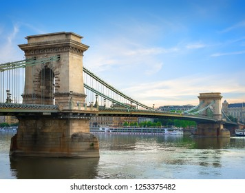 Chain bridge on Danube river in Budapest at summer