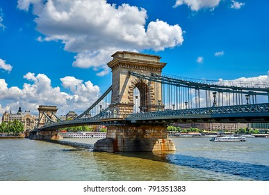 Chain bridge on Danube river in Budapest city, Hungary.