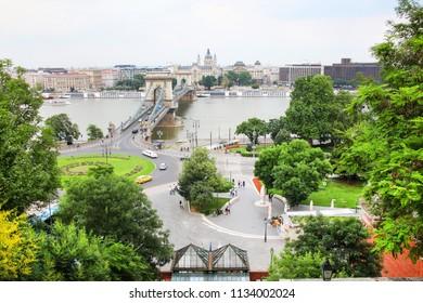 Chain Bridge over Danube river in Budapest, Hungary