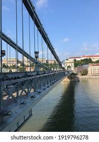 Chain bridge over the Danube River in Budapest, Hungary