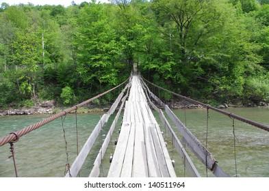 Chain bridge over the River