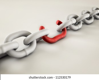 A chain with a broken link highlighted red to highlight the weak link.