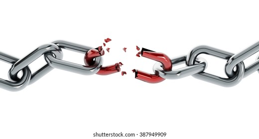 Chain with broken red part isolated on white background