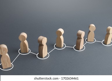 Chain of connected people by lines. Cooperation, collaboration. Communication links. Rumor spreading in public society. Partnership, unity, assistance. Interaction of persons, information exchange.