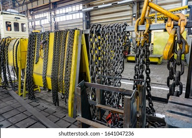 Chain for the crane on the rack, cargo slings for lifting goods
